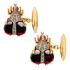 Garnet Diamond Beetle Cufflinks