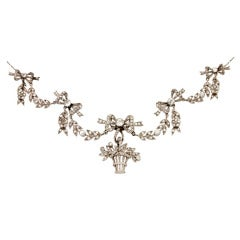 Belle Epoque Garland Style Diamond Gold Platinum Necklace