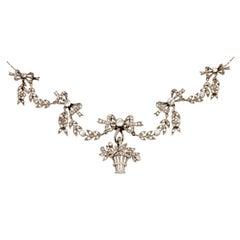 Belle Epoque Garland Style Diamond Gold Platinum Necklace