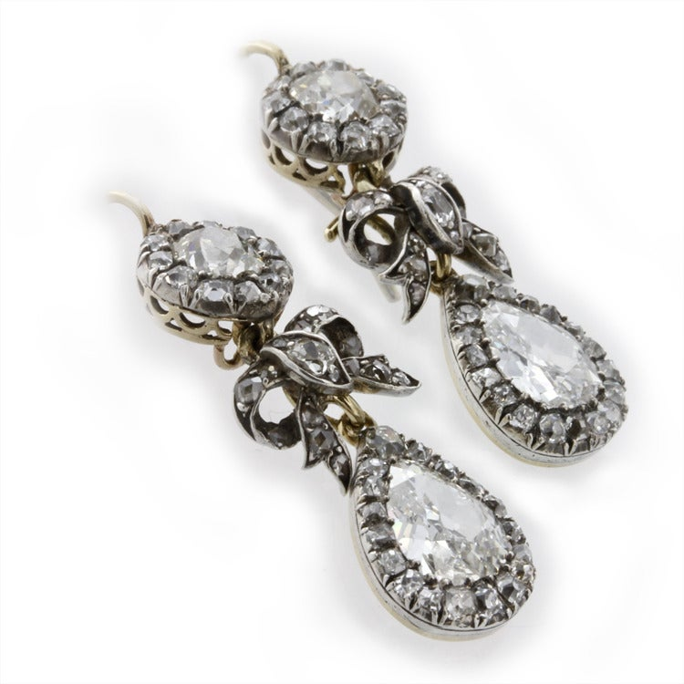 Victorian Diamond Drop Earrings 3
