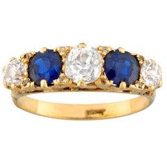 Victorian Five Stone Sapphire Diamond Gold Ring