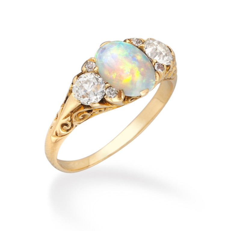 Opal And Diamond Victorian Ring At 1stdibs