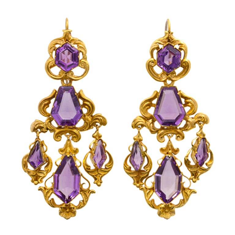 6b58536a3 Victorian Amethyst Gold Drop Earrings For Sale at 1stdibs
