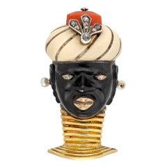 Cartier Blackamoor Head Clip