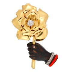 Cartier Hand and Rose Clip