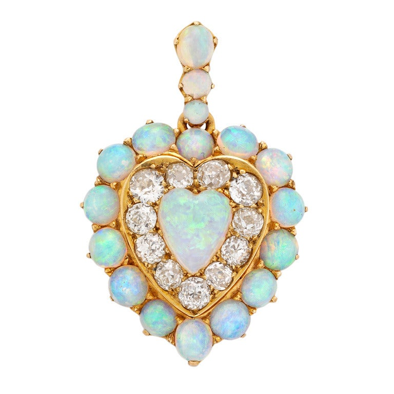 Victorian Opal Diamond Gold Heart Pendant