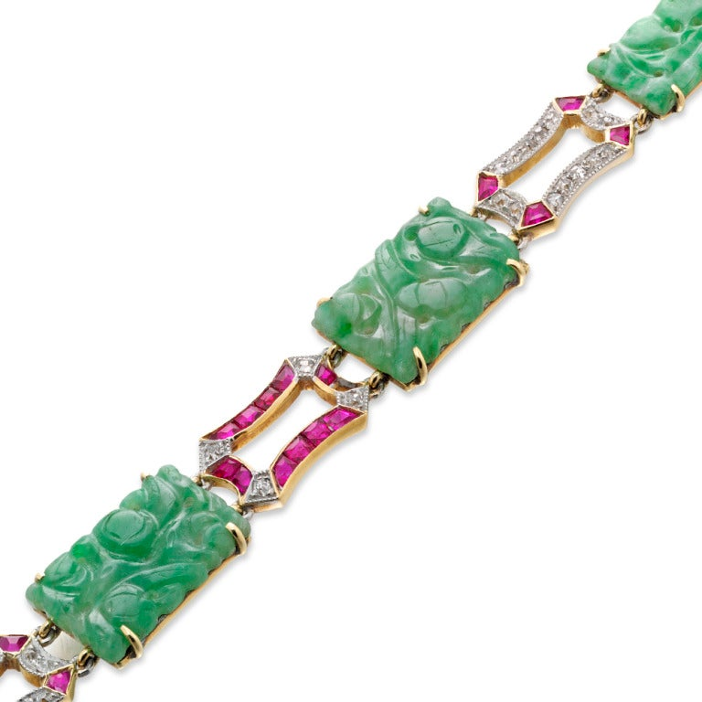 Art Deco Carved Jade Ruby Diamond Gold Plaque Bracelet 2