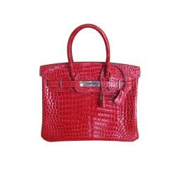 Hermes 30cm Red Crocodile Birkin Bag