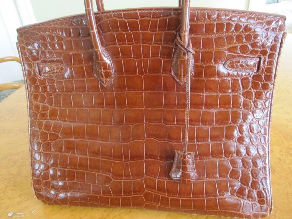 Hermes 35cm Caramel Crocodile Birkin Bag 2