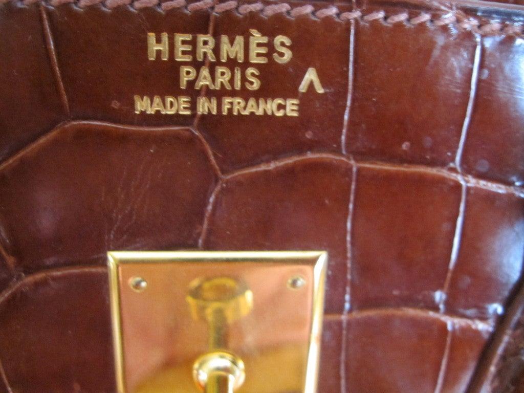 Hermes 35cm Caramel Crocodile Birkin Bag 4