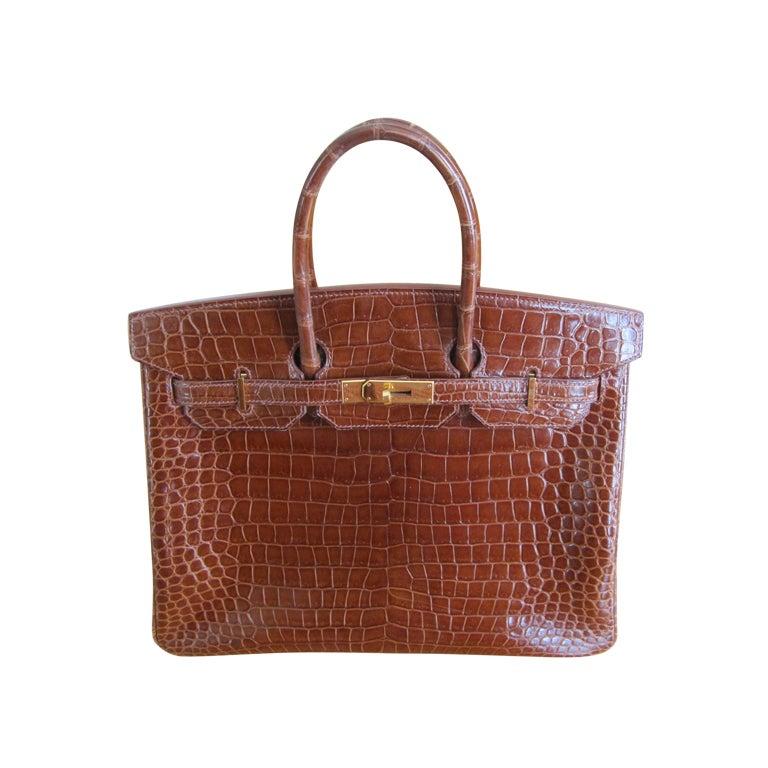 Hermes 35cm Caramel Crocodile Birkin Bag