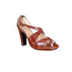 Hermes Crocodile Platform Shoes Size 39 Unworn