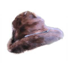 Wide brim mink hat