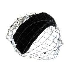 Bes-Ben black velvet beaded hat with veil unworn w tags