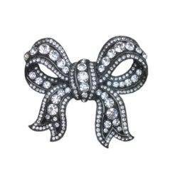 Large Swarovski Crystal Bow Pin by  R. Serbin 1985