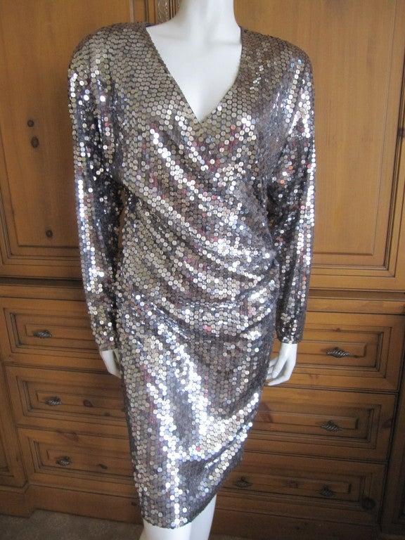 Oleg Cassini 70's disco era sexy low cut silver sequin dress 2