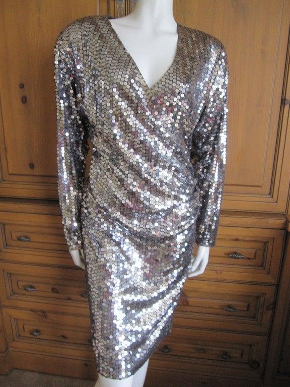 Oleg Cassini 70's disco era sexy low cut silver sequin dress 3