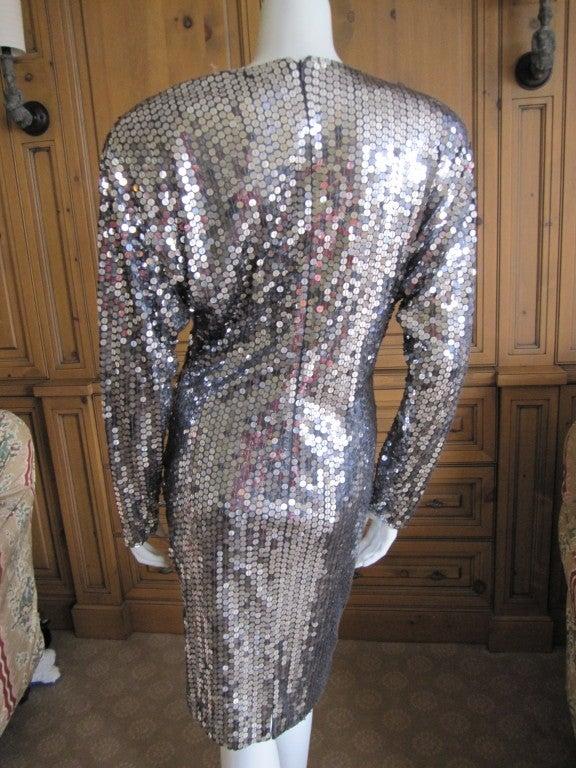 Oleg Cassini 70's disco era sexy low cut silver sequin dress 4