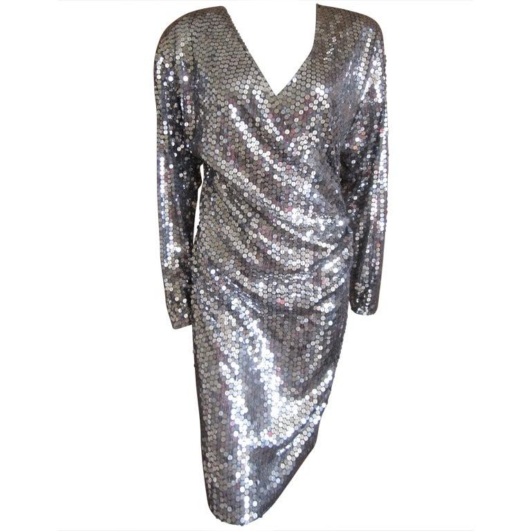 Oleg Cassini 70's disco era sexy low cut silver sequin dress 1