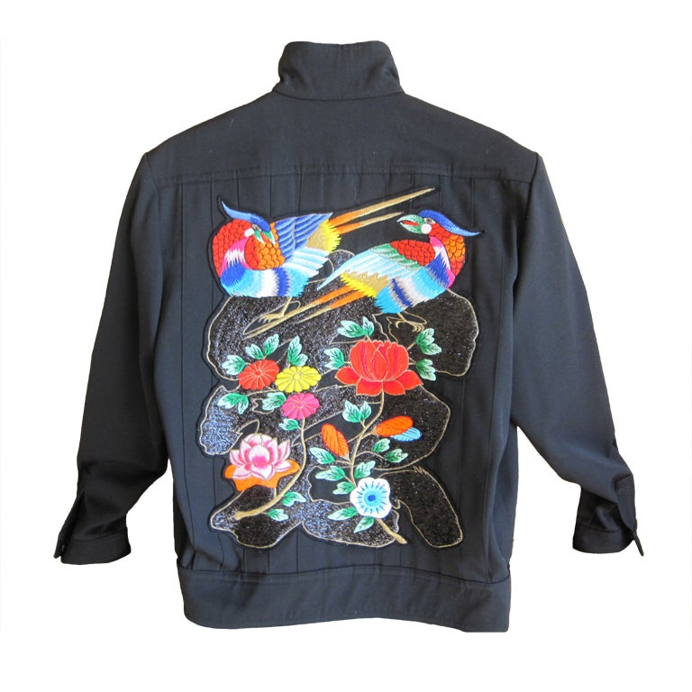Kansai Yamamoto 1982 mens black jacket with embroidered birds at 1stdibs 3fb7fc07a