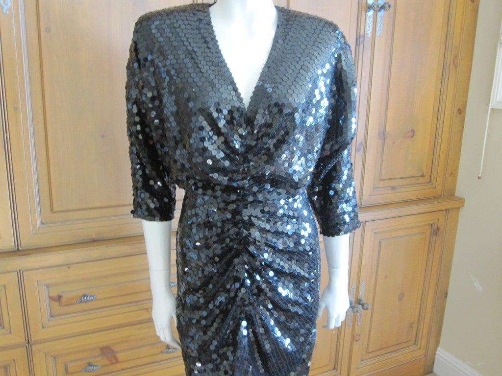 Sexy disco era sequin dress w keyhole back by Oleg Cassini ...
