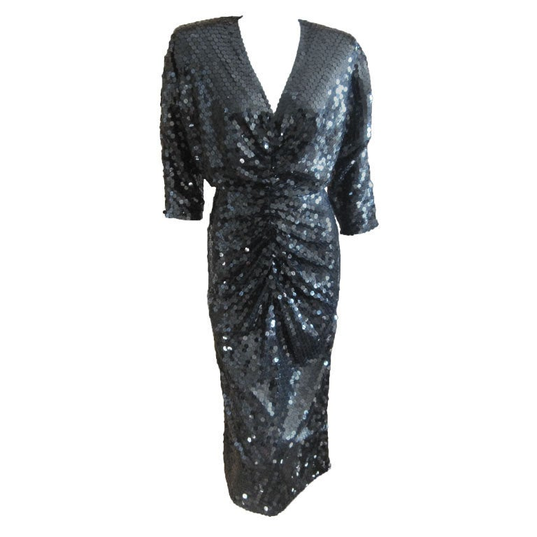 Sexy disco era sequin dress w keyhole back by Oleg Cassini ...