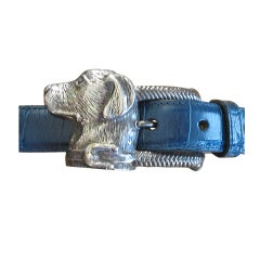 KIESELSTEIN CORD Labrador Dog Silver buckle Alligator belt