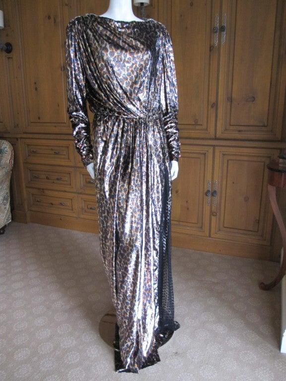 Yves Saint Laurent Haute Couture silk  velvet leopard dress 2