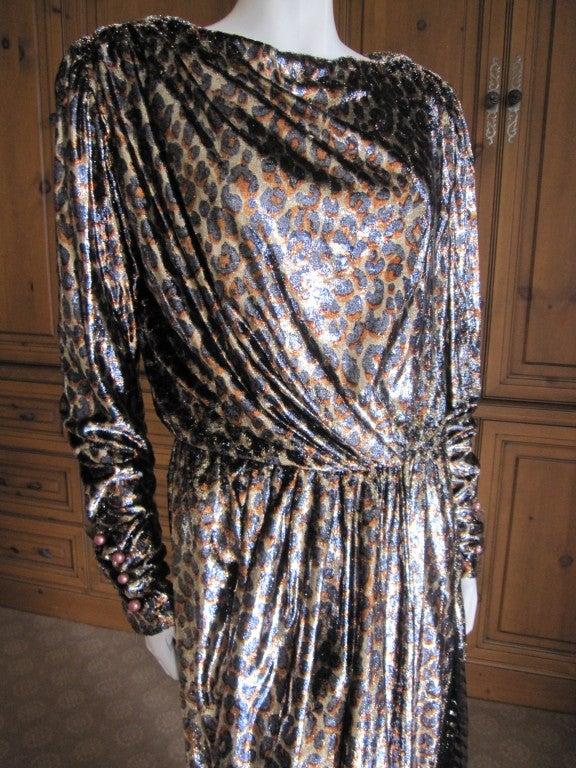 Yves Saint Laurent Haute Couture silk  velvet leopard dress 3
