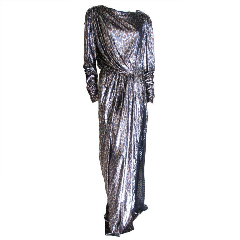 Yves Saint Laurent Haute Couture silk  velvet leopard dress 1