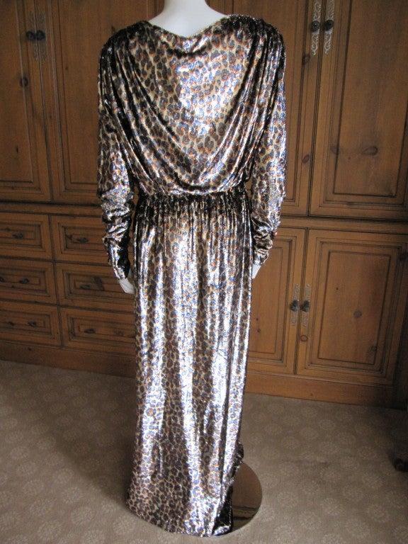 Yves Saint Laurent Haute Couture silk  velvet leopard dress 7