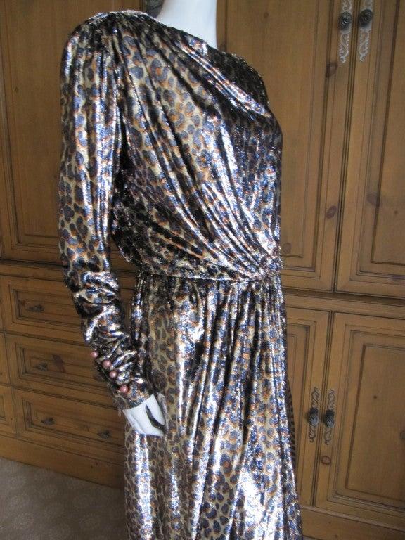 Yves Saint Laurent Haute Couture silk  velvet leopard dress 8