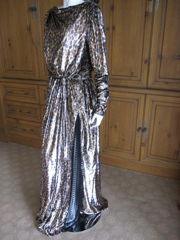 Yves Saint Laurent Haute Couture silk  velvet leopard dress 10
