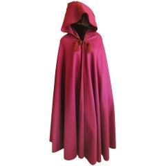Yves Saint Laurent Rive Guache vintage hooded cape with tassel's