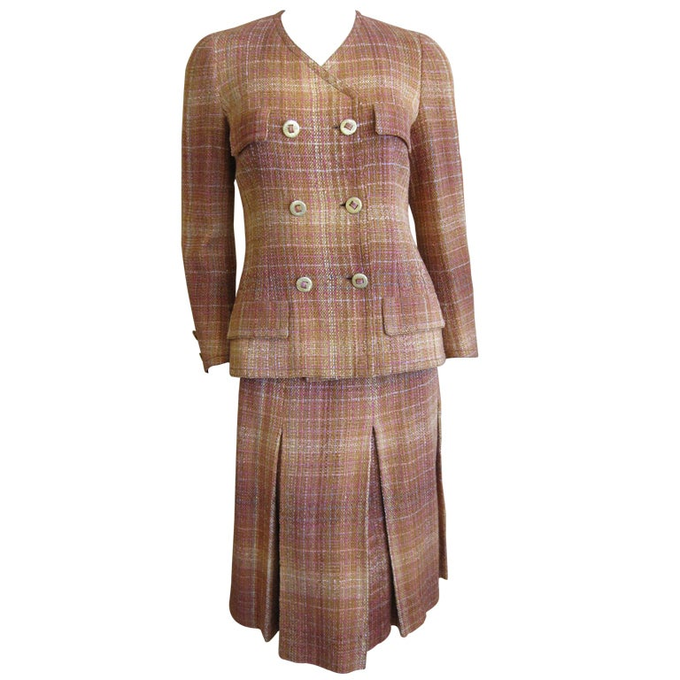 chanel haute couture 1960 39 s plaid suit at 1stdibs
