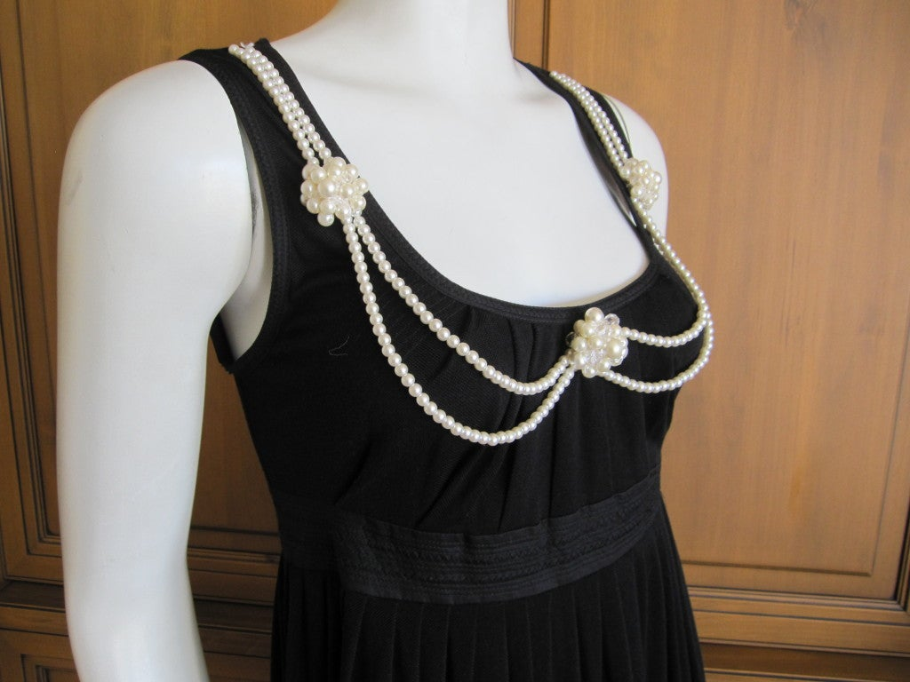 Moschino Little Black Dress With Attached Pearl Necklace For 1
