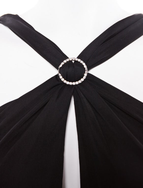 Gianni Versace Vintage Versus backless black evening dress jewel 2
