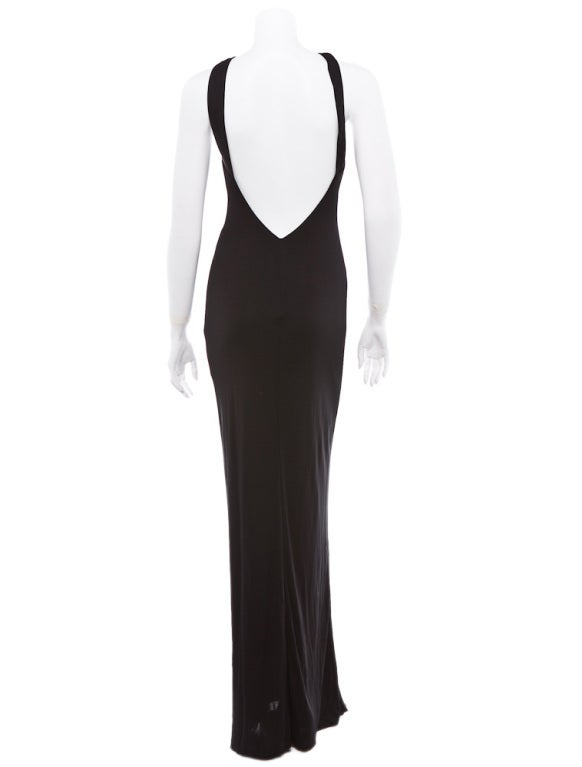 Gianni Versace Vintage Versus backless black evening dress jewel 4