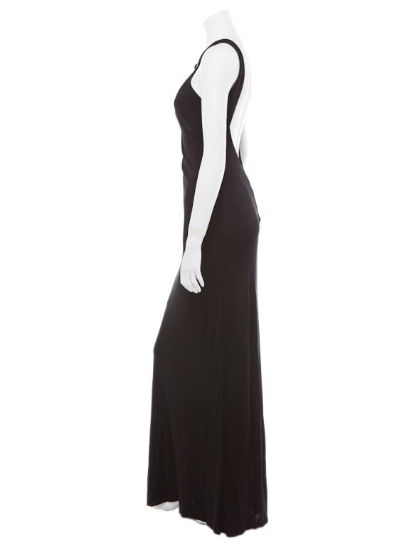 Gianni Versace Vintage Versus backless black evening dress jewel 5