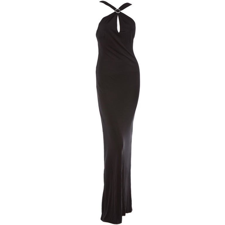 Gianni Versace Vintage Versus backless black evening dress jewel 1