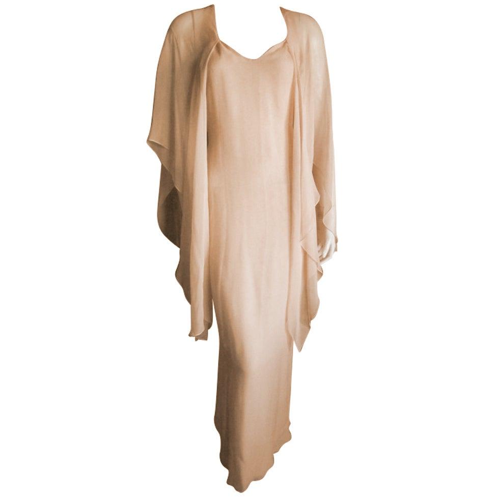 Halston diaphanous vintage cape dress 1