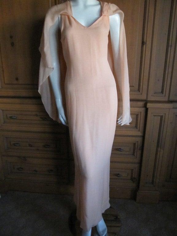 Halston diaphanous vintage cape dress 2