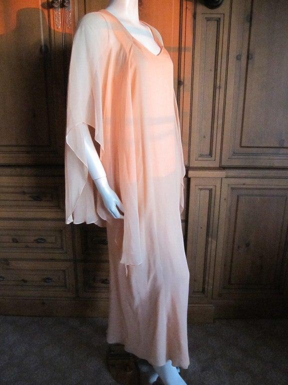 Halston diaphanous vintage cape dress 3