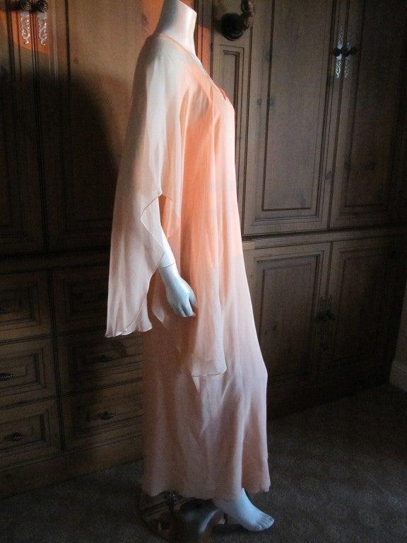 Halston diaphanous vintage cape dress 4