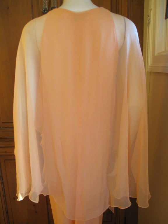 Halston diaphanous vintage cape dress 5