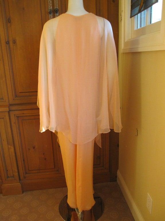 Halston diaphanous vintage cape dress 6