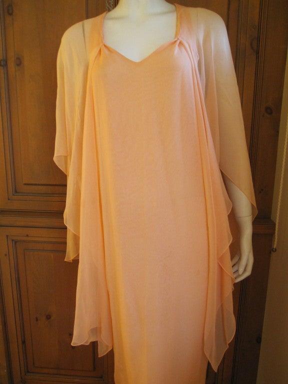 Halston diaphanous vintage cape dress 7