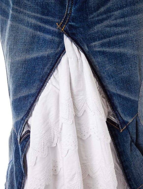 Junya Watanabe denim and lace mermaid skirt  sz S 2