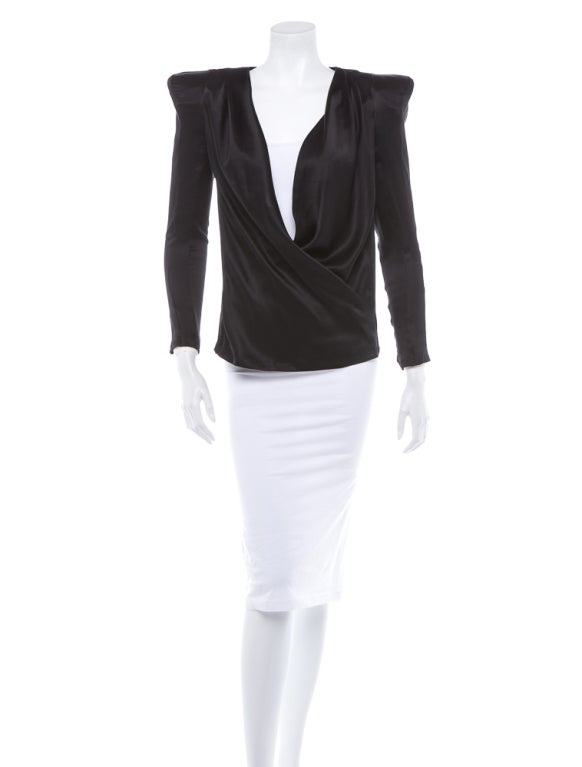 Balmain Black silk blouse with accentuated shoulder pads 2