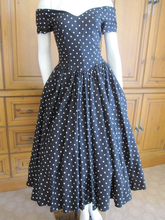 Jean Louis 1950's sweet polka dot dress I magnin 2